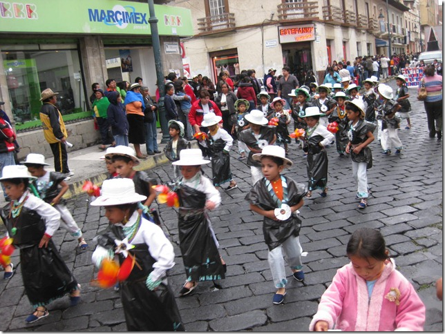 Cute parade with children dancing