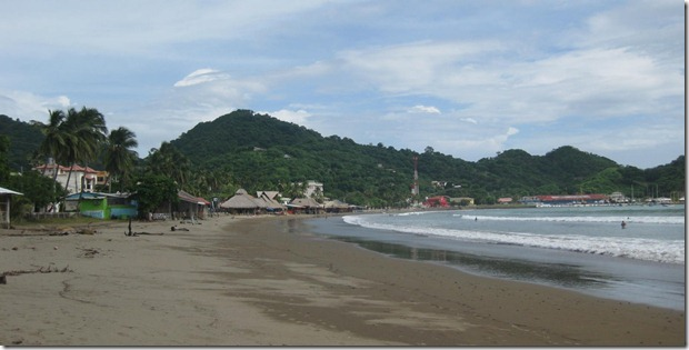 a view of the beach and reastuarnts in San Juan Del Sur