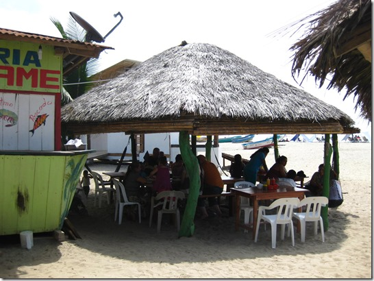 Lunch at a small lunch shak on the beach Sopa Marinera