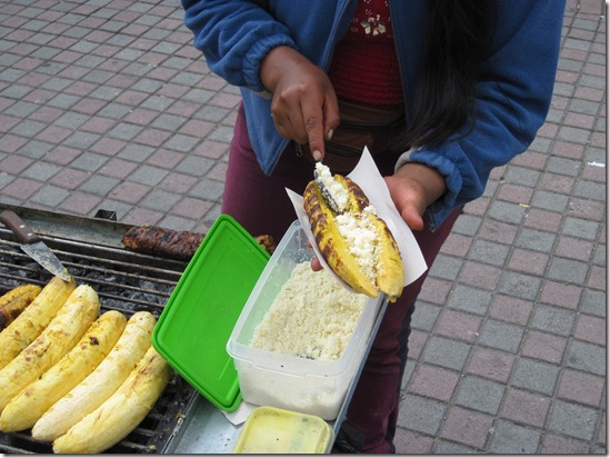 Grilled plantain con queso
