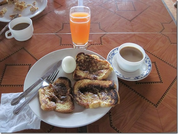 Just in time for breakfast, French Toast, Boiled Egg, Coffe & Juice