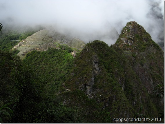A distant view of Machu Picchu from Huayna Picchu