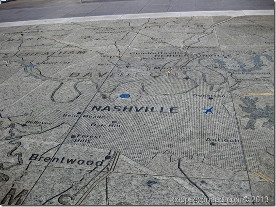 Tennessee state map etched into cement
