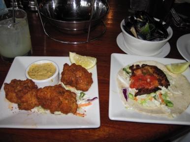 Shrimp Fritters w/Spicy Remoulade & Blackened Fish Taco w/Tamatillo Mayo & Salsa