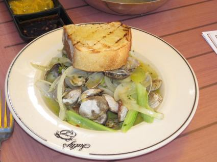 Clams in roasted garlic pesto