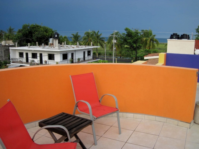 Rooftop patio, view to the ocean