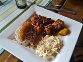Stewed pork with rice and beans