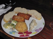 Cicchetti - Sarde en Saor, rice ball, squid, rolls with meat and pumpkin