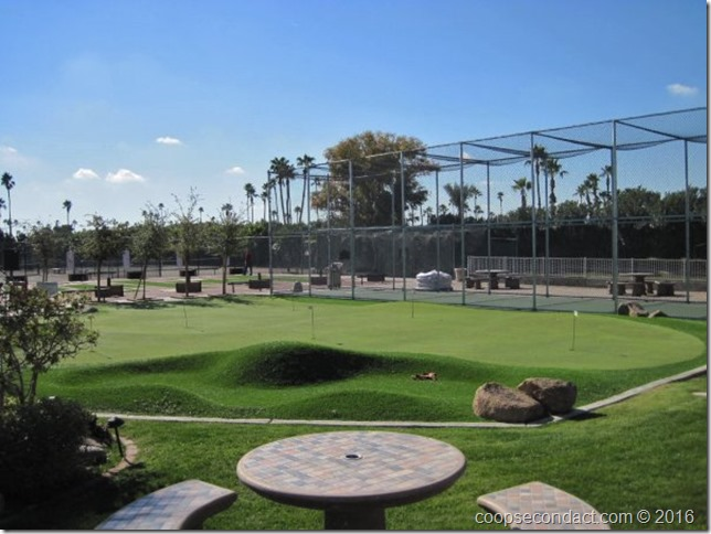 Putting green, horseshoes, batting cage